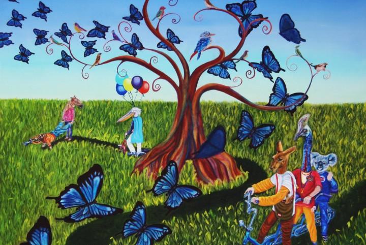 vlinders, Australië, reizen, dieren, olieverf, kangoeroe, vogels, pelikaan, grasmaaier,paard.
