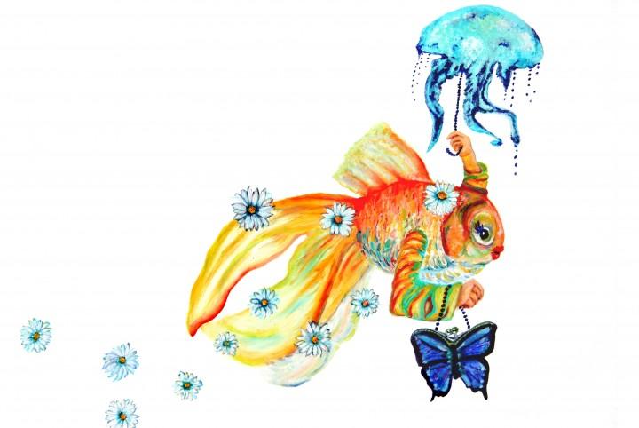 Dame, vis, kwal, snorkelen, vlindertas, bloemen, onder water, oranje, blauw