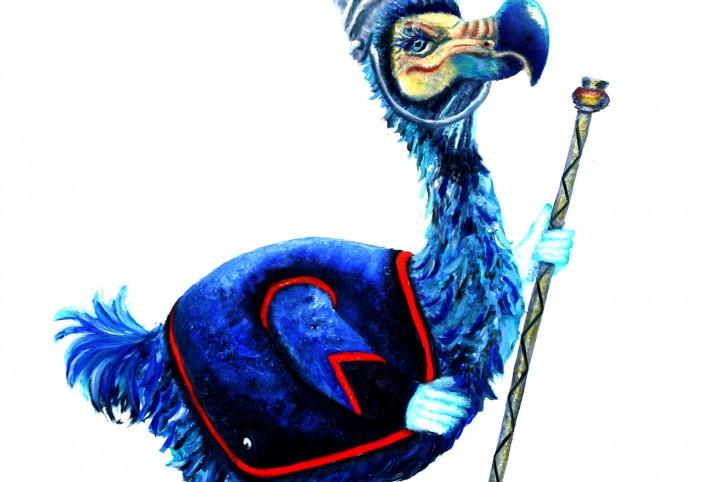 Trombonne, fanfare band, blauw,
