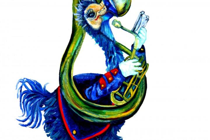 Trombonne, dodo, fanfare band, blauw