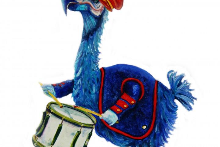 Dodo, trommel, fanfare band, blauw, rode pet