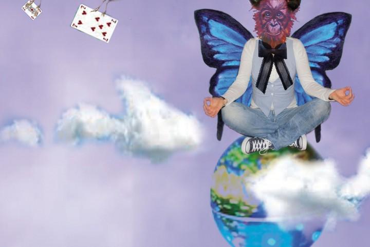 Zen, wereldbol, vlinders, vissen, berging, toverhoed,