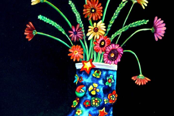 regenlaars, bloemen, versiering,sterren, papier, olieverf.kleurrijk