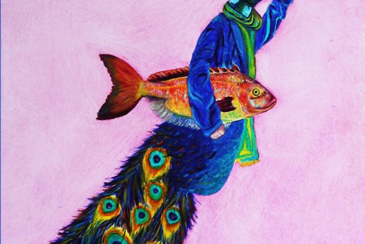 Gentle men, pauw, vis, uitgaan, bolhoed, roze, pauwen veren,