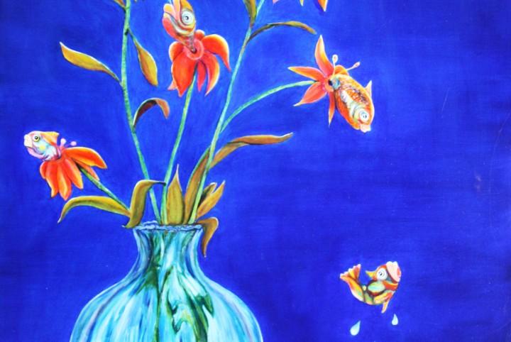 bloemen, vissen, vis bloemen, vaas, blauw, water