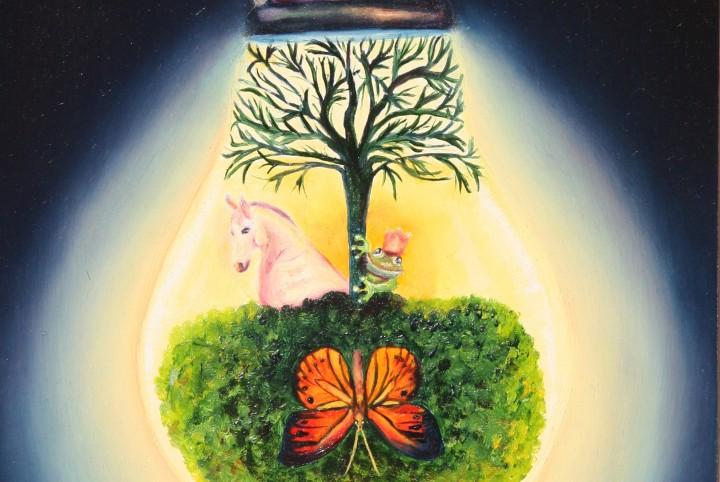 Licht, man op het witte paard, gloeilamp, bomen, zuurstuf, ontpoppen, vlinder, kikker, de prins