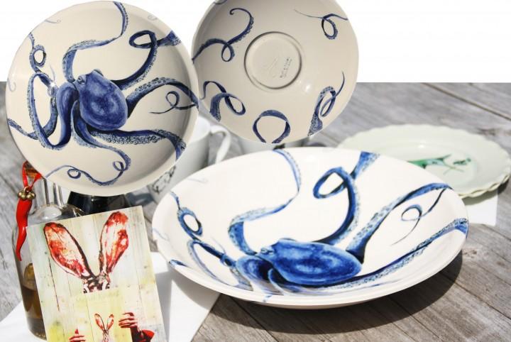 aardewerk, schaal. blauw, inktvis, octopus