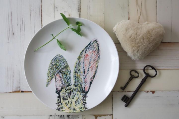 dinerbord, porselein, haas, geschilderd, handmade