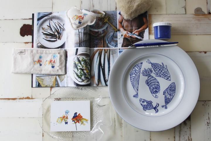 dinerbord, vissen, visbord, blauw, porselein, handmade, cadeau