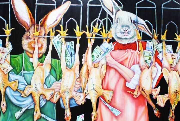 Macht, geld, banken, kippen, haas, angsthaas, groen, rood, stop, kaal plukken, zakken vullen, graaien, geld.