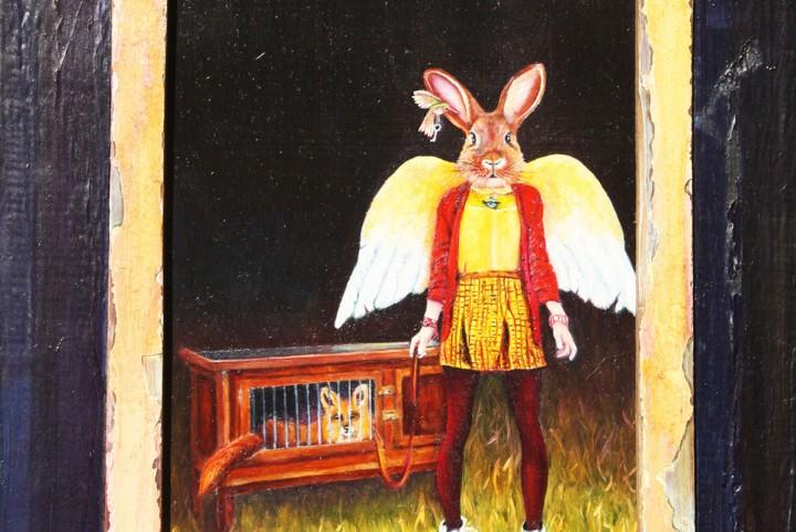 haas, sluwe vos, aangelijnd,konijnen hok, engelen, slim, internet